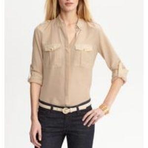 Banana Republic Heritage Silk Blend Military Shirt